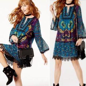 Anna Sui X INC Silk Printed Peasant Boho Dress XS